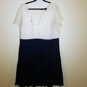 White and navy work dress modcloth